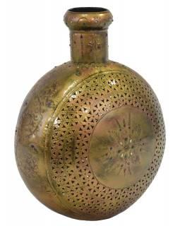 Kovová váza, ručně tepaná, mosazná patina, 42x24x48cm