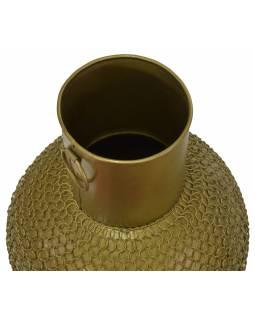 Kovová váza, zlatá patina, 25x25x77cm