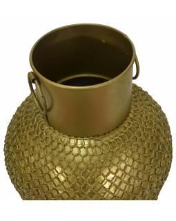 Kovová váza, zlatá patina, 25x25x64cm