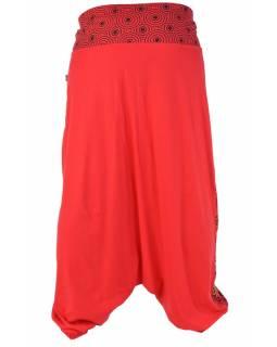 """Červeno černé turecké kalhoty """"Meadow design"""" s výšivkou"""