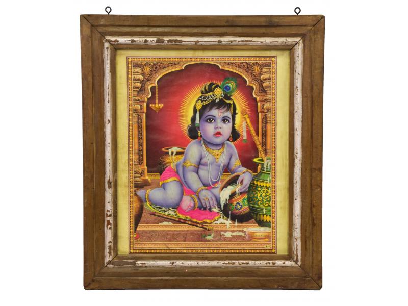 Starý obraz hinduistického božstva v teakovém rámu pod sklem, Krišna, 53x3x60cm