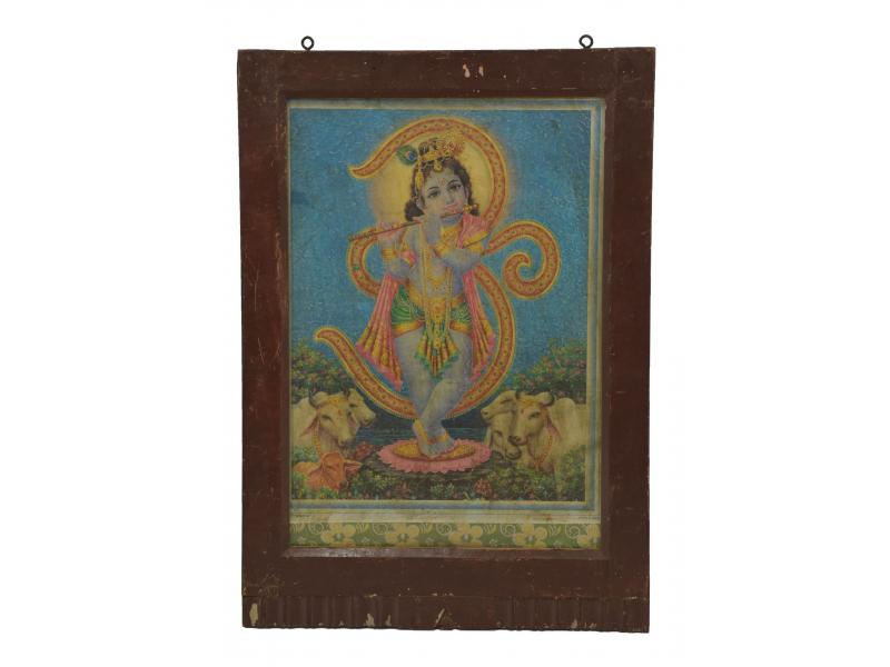 Starý obraz hinduistického božstva v teakovém rámu pod sklem, Krišna, 43x3x63cm