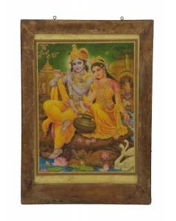 Starý obraz hinduistického božstva v teakovém rámu, Krišna a Radha,, 42x2x60cm