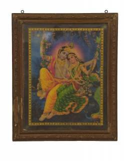 Starý obraz hinduistického božstva v teakovém rámu, Krišna a Radha, 48x2x59cm