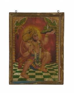 Starý obraz hinduistického božstva v teakovém rámu pod sklem, Hanuman, 29x2x38cm