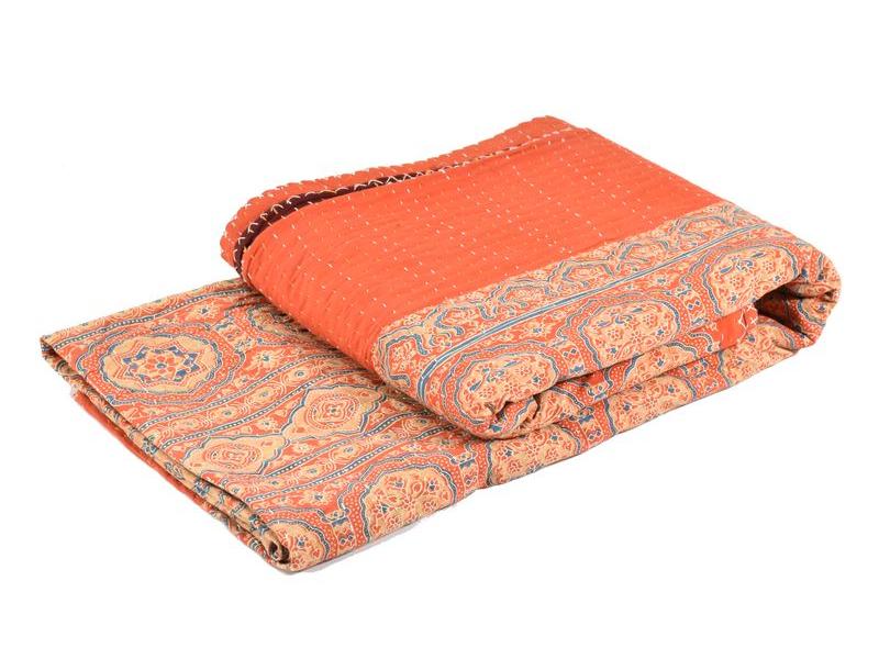 Přehoz na postel, oranžový, block print, ruční práce, prošívaný,  230x280cm