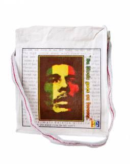 Plátěná taška přes rameno s barevným tiskem Bob Marley, 29x35x12cm
