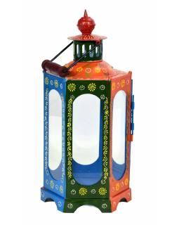 Kovová lucerna, ručně malovaná, 23x23x52cm