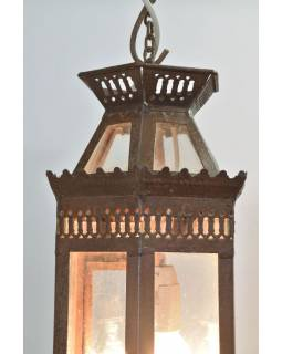 Kovová lucerna, rezavá patina, 16x16x48cm