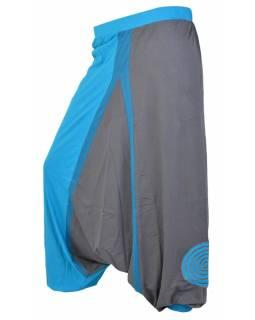 "Modro šedé turecké kalhoty ""Spiral design"", pružný pas"