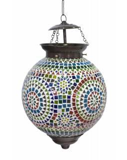 Kulatá skleněná mozaiková lampa, ruční práce, 28x34cm