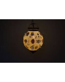 Kulatá skleněná lampa zdobená barevnými kameny, žlutá, ruční práce, 25x35cm