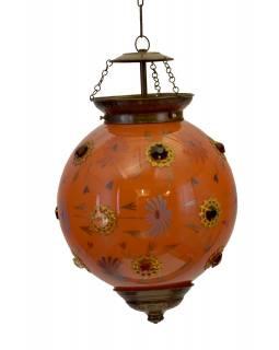 Kulatá skleněná lampa zdobená barevnými kameny, oranžová, ruční práce, 25x35cm