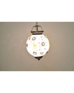 Kulatá skleněná lampa zdobená barevnými kameny, bílá, ruční práce, 25x35cm