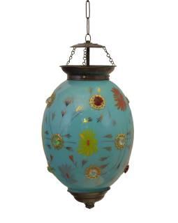 Oválná skleněná lampa zdobená barevnými kameny, modrá, 25x25x35cm