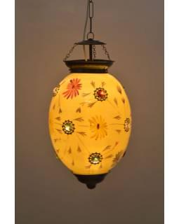 Oválná skleněná lampa zdobená barevnými kameny, žlutá, 25x25x35cm