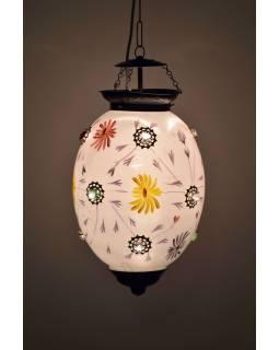 Oválná skleněná lampa zdobená barevnými kameny, bílá, 25x25x35cm