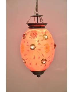 Oválná skleněná lampa zdobená barevnými kameny, růžová, 25x25x35cm