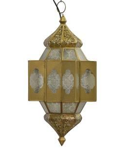 Lampa v orientálním stylu, bílé sklo, zlatý kov, 25x25x54cm