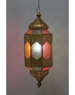 Kovové stínidlo v orientálním stylu, barevná skla, 20x20x55cm
