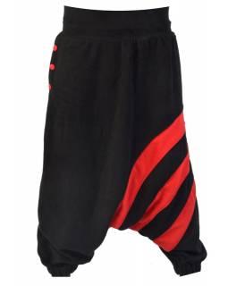 Černo červené fleecové turecké kalhoty s pruhy, kapsa a knoflíky