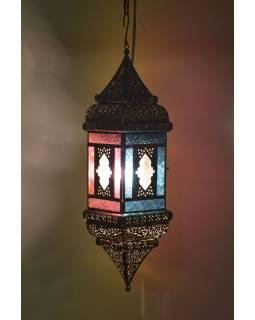Arabská lampa, multibarevná, mosazná patina, sklo, ruční práce, 13x13x50cm
