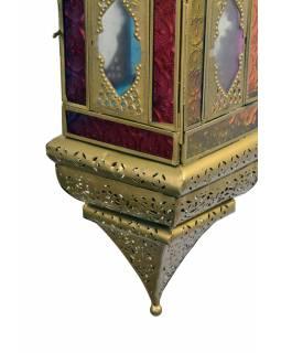 Arabská lampa, multibarevná, mosaz, sklo, ruční práce, 13x13x50cm