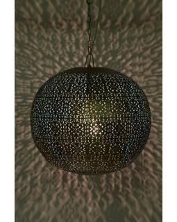 Kovová lampa v arabském stylu, zlato černá, uvnitř tyrkysová, 42x42x42cm