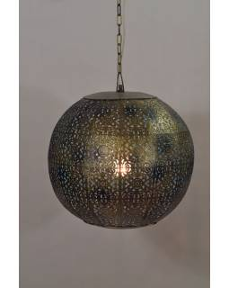 Kovová lampa v arabském stylu, zlato černá, uvnitř tyrkysová, 37x37x37cm
