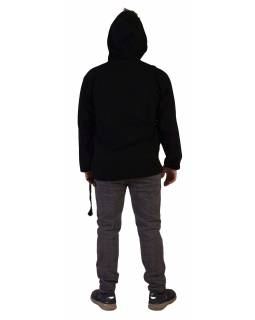 Anorak - Mikina s kapucí, knoflíky, černý, 2 kapsy