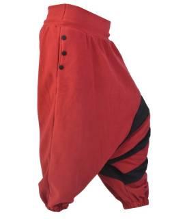 Vínovo černé fleecové turecké kalhoty s pruhy, kapsa a knoflíky
