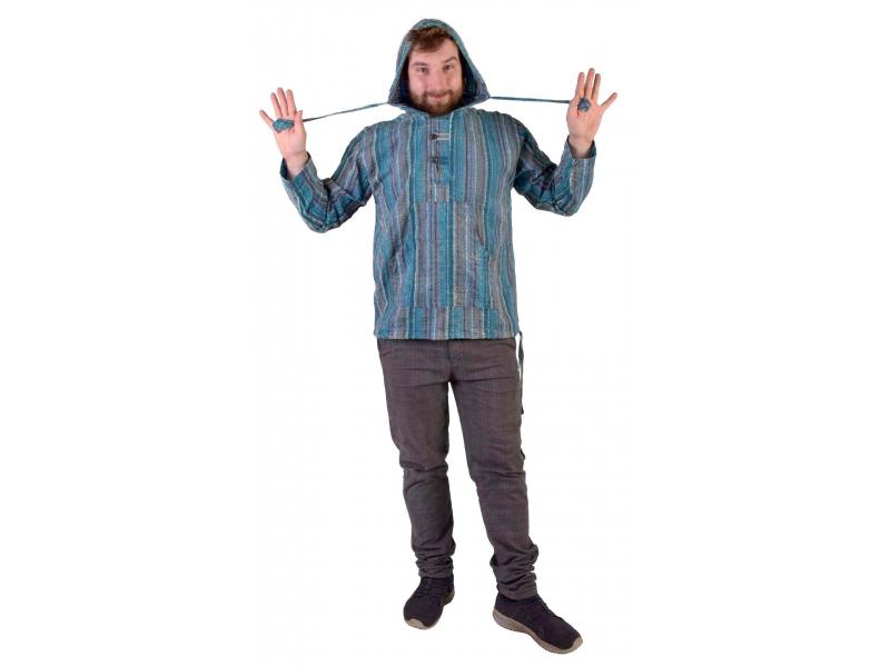 Anorak - Mikina s kapucí, knoflíky, Sai Sakar, kapsa, modro barevná