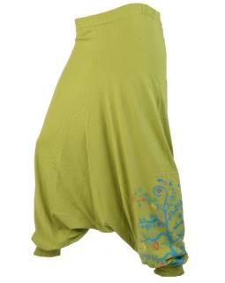 """Zelené turecké kalhoty """"Tree design"""", výšivka a potisk, elastický pas"""