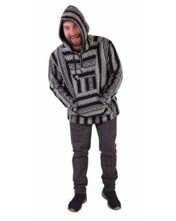Anorak - Mikina s kapucí, knoflíky, bez podšívky, kapsa, černo-bílá