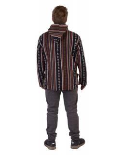 Anorak/Mikina s kapucí, knoflíky bez podšívky, kapsa, černá - barevná