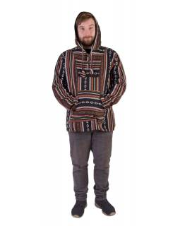 Anorak - Mikina s kapucí, knoflíky bez podšívky, kapsa, černá - barevná