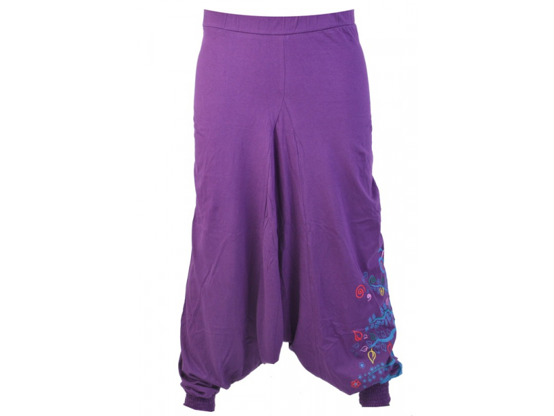 """Fialové turecké kalhoty """"Tree design"""", výšivka a potisk, elastický pas"""