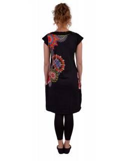Černé šaty s krátkým rukávem, mandala potisk