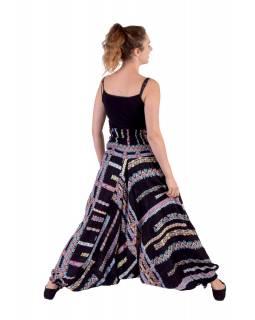 """Elegantní černé turecké kalhoty s potiskem """"Alana design"""" žabičkování"""
