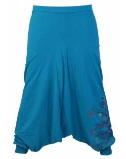 """Tyrkysové turecké kalhoty """"Tree design"""", výšivka a potisk, elastický pas"""