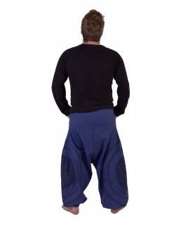 Dlouhé turecké kalhoty, modro-černé, potisk, kapsy, pružný pas