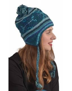 Čepice z vlny s ušima a podšívkou, modrá s copánky