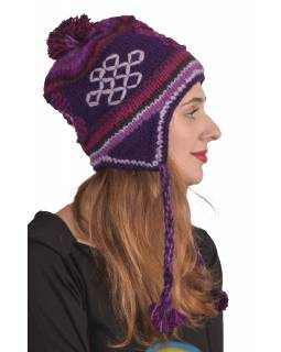 Čepice z vlny s ušima a podšívkou, fialová s copánky