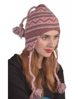 Čepice, uši, copánky, - růž., lila, šedá - ,vlna, podš.