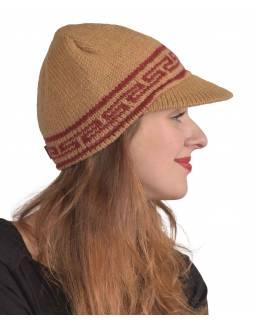 Čepice, kšilt, -sv.hnědá,vínová-, vlna, podšívka