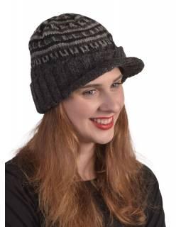 Čepice, kšilt, visor cap, vlna, podšívka, černá, šedá