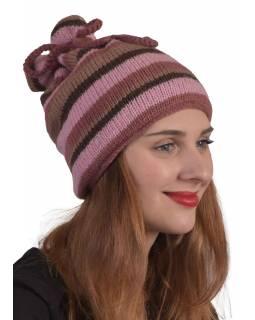 """Čepice """"rolák"""",stahovací, pruhy růžovo-fialové, vlna, podšívka"""