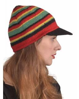 Čepice, kšilt, pruhy -RASTA-, vlna, podšívka