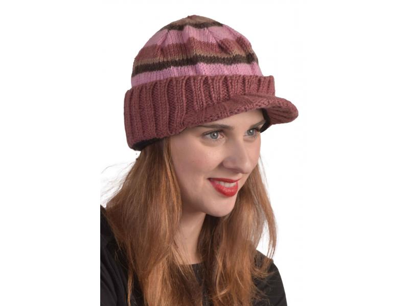 Čepice, kšilt, pruhy růžovo-fialovo-hnědé, vlna, podšívka