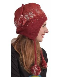 Čepice, uši, vlna, podšívka, vzor vločka, červená